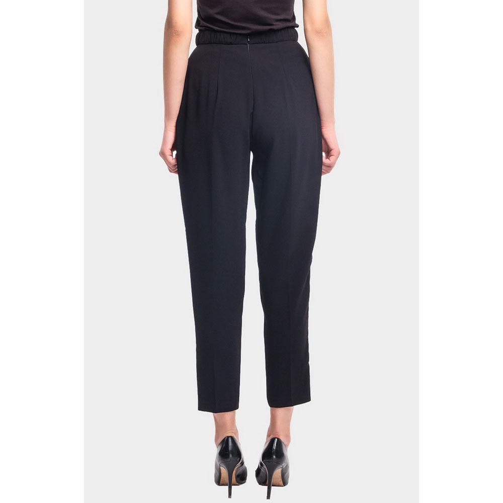 Черные брюки Elisabetta Franchi Moves с лампасами-лого
