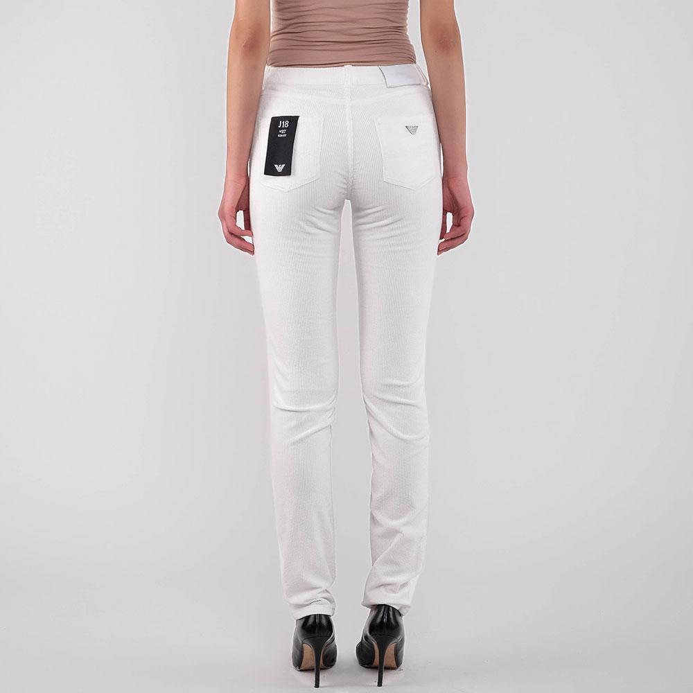 Вельветовые брюки Emporio Armani белого цвета