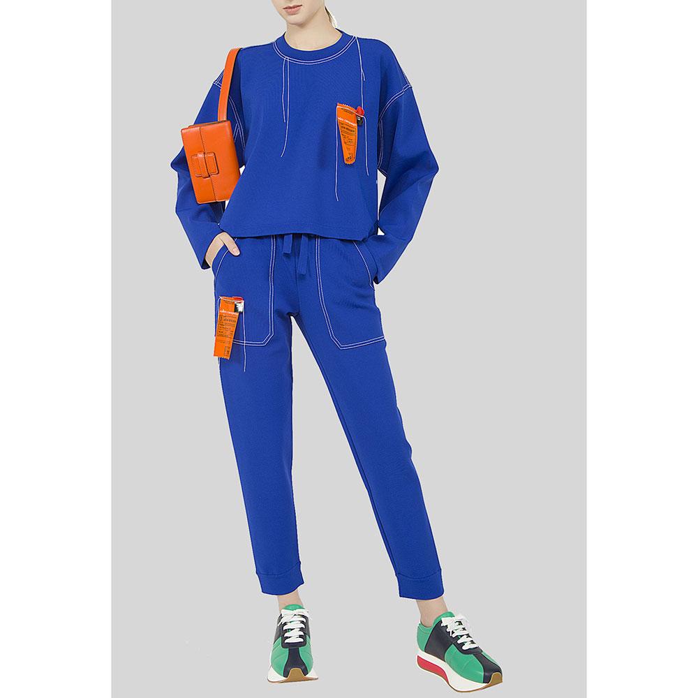 Спортивные брюки MRZ синие с белой строчкой