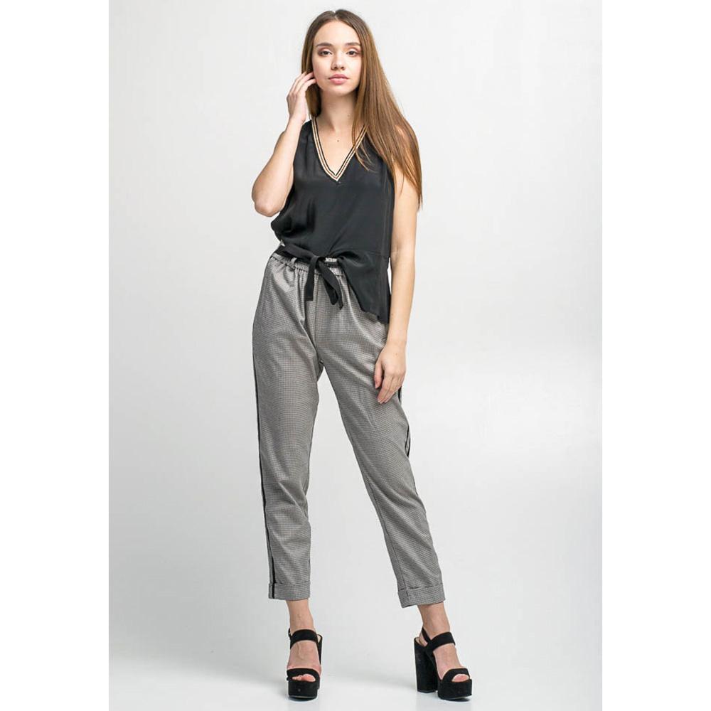 Серые зауженные брюки Kaos с лампасами