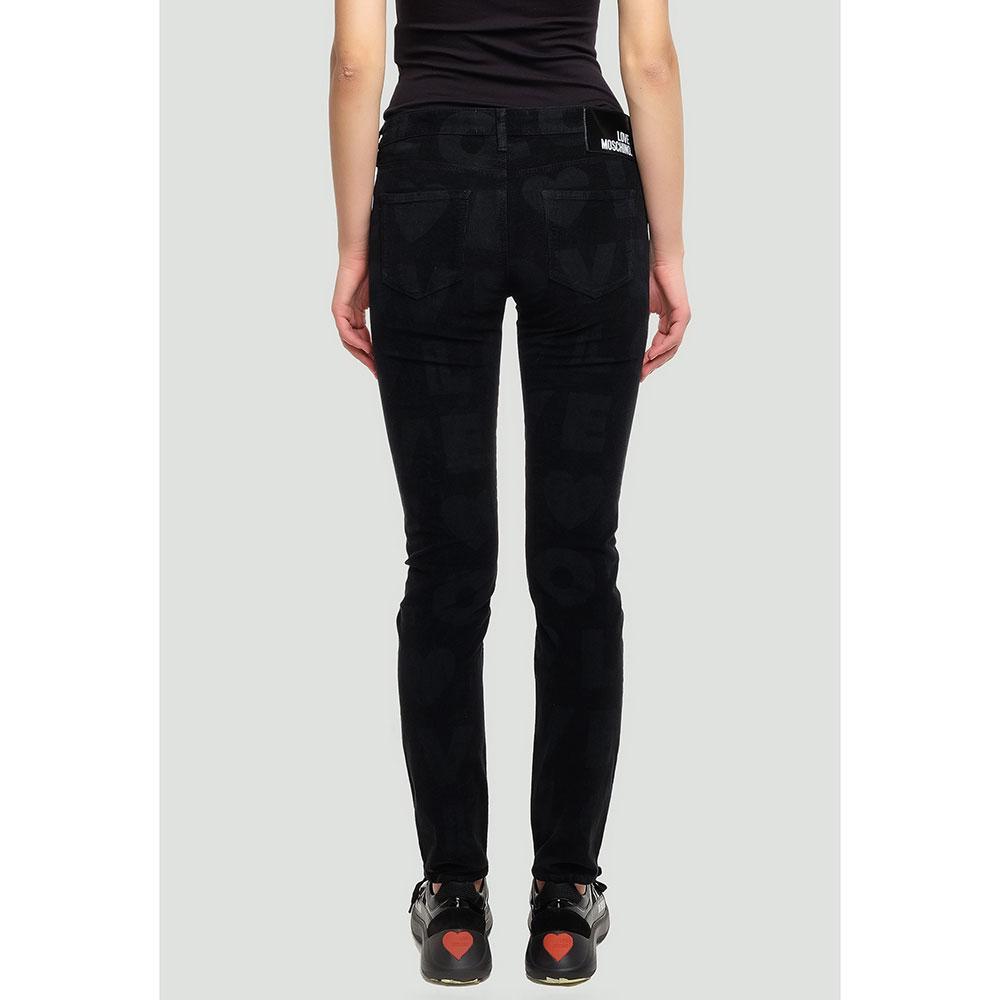 Вельветовые брюки Love Moschino черного цвета