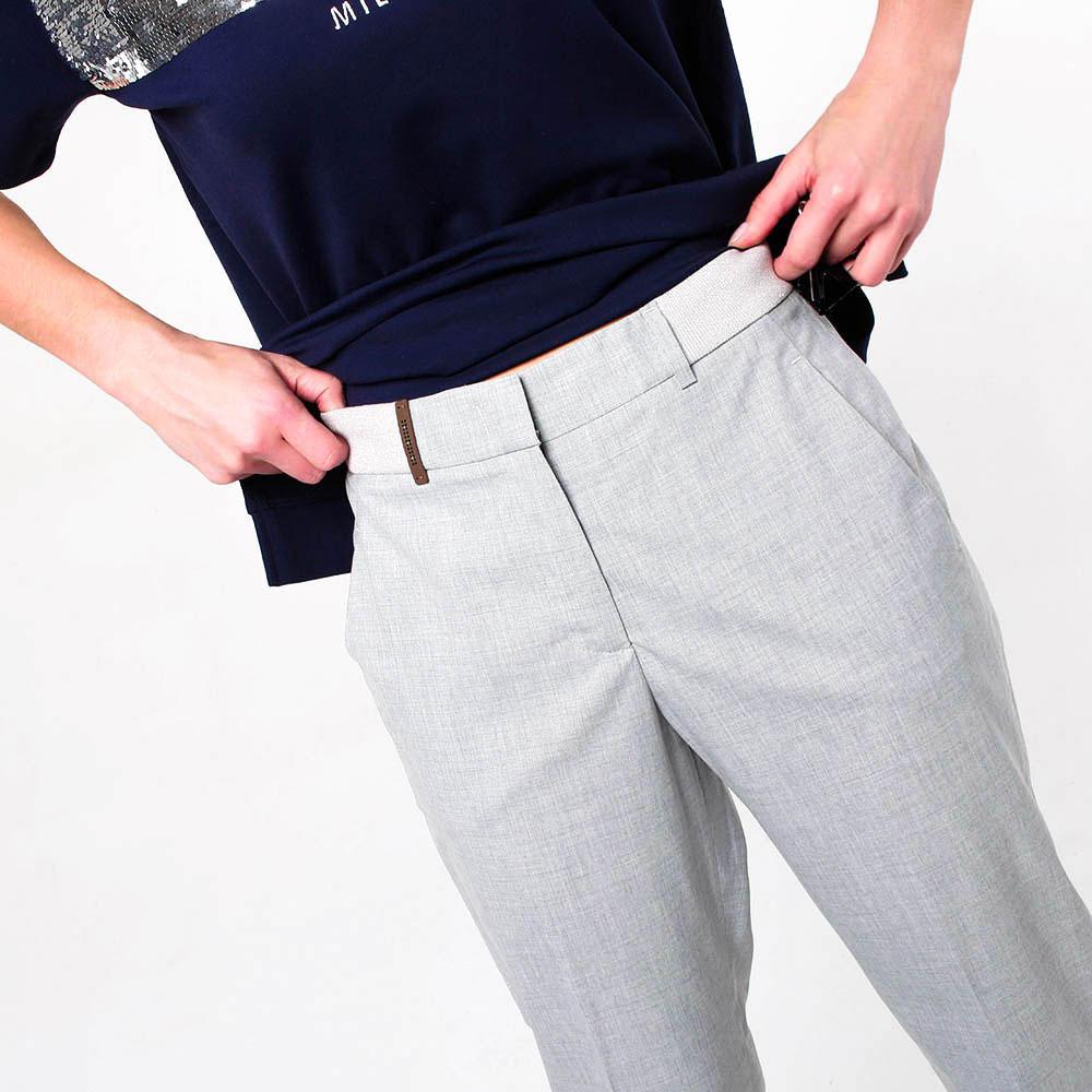 Широкие серые брюки Peserico с высокой талией