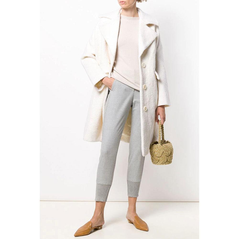 Серые зауженные брюки Peserico с манжетами