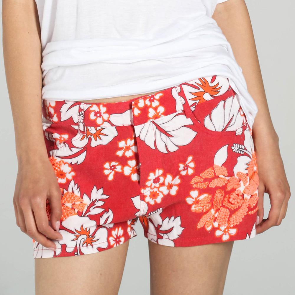 Красные шорты P.A.R.O.S.H. с оранжевым растительным принтом