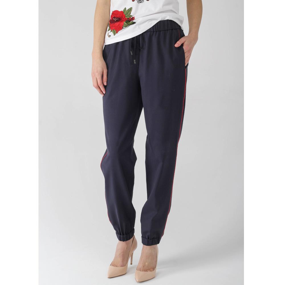 Синие брюки Peserico в спортивном стиле с красными лампасами