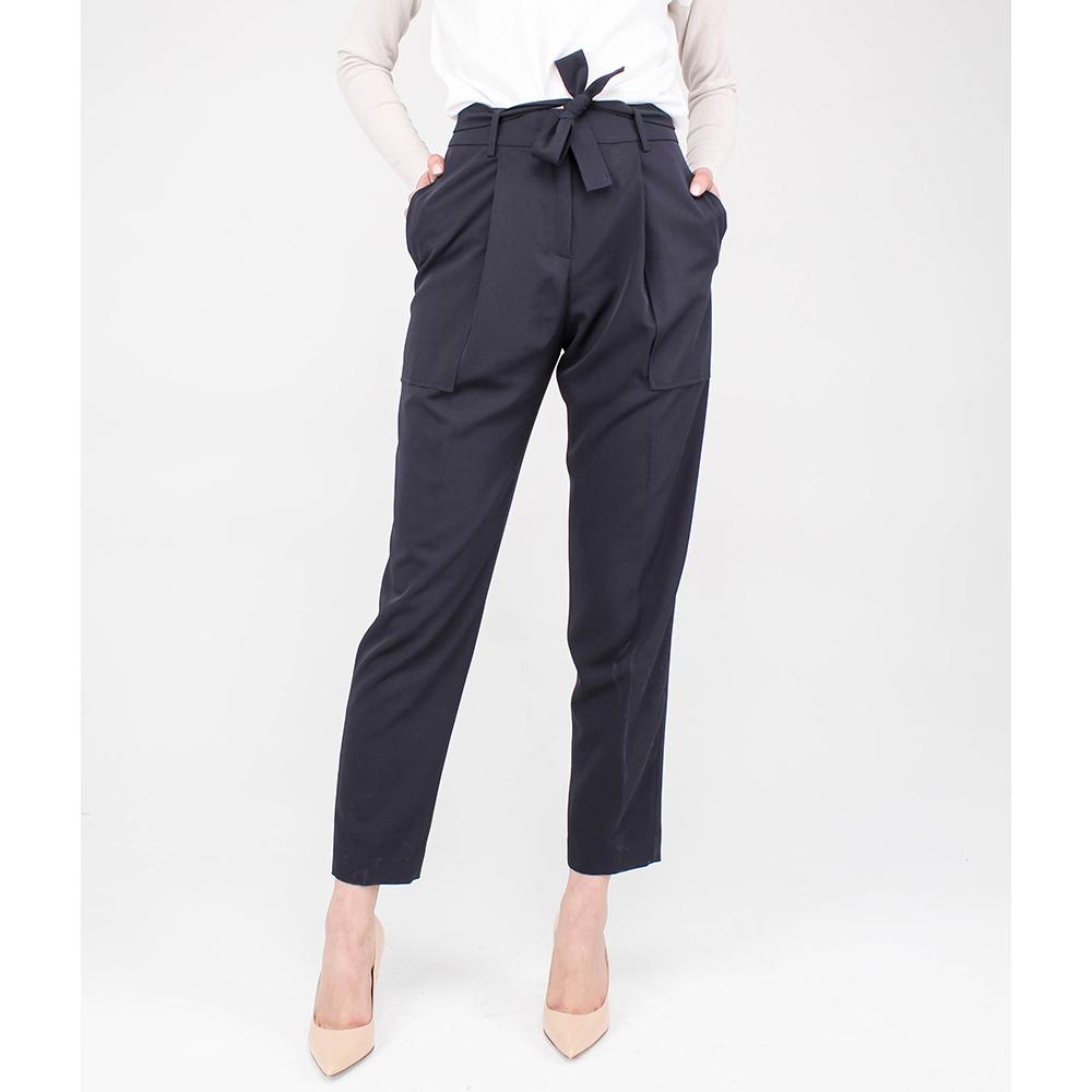Синие брюки Blumarine с защипами и накладными карманами