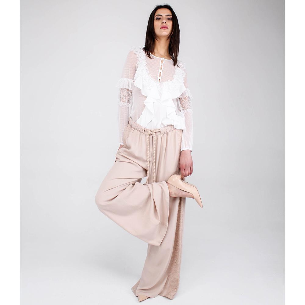 Широкие брюки Blumarine бежевого цвета
