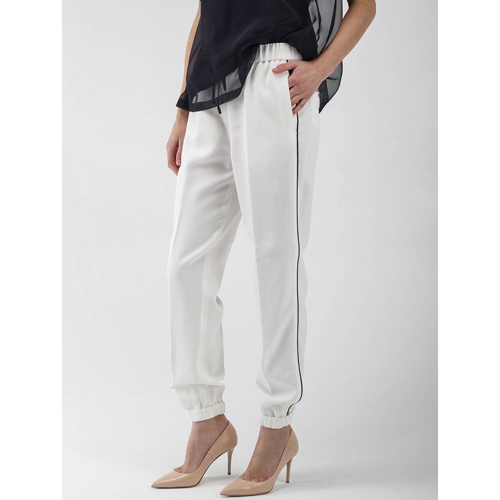 Белые брюки Peserico в спортивном стиле с черными лампасами
