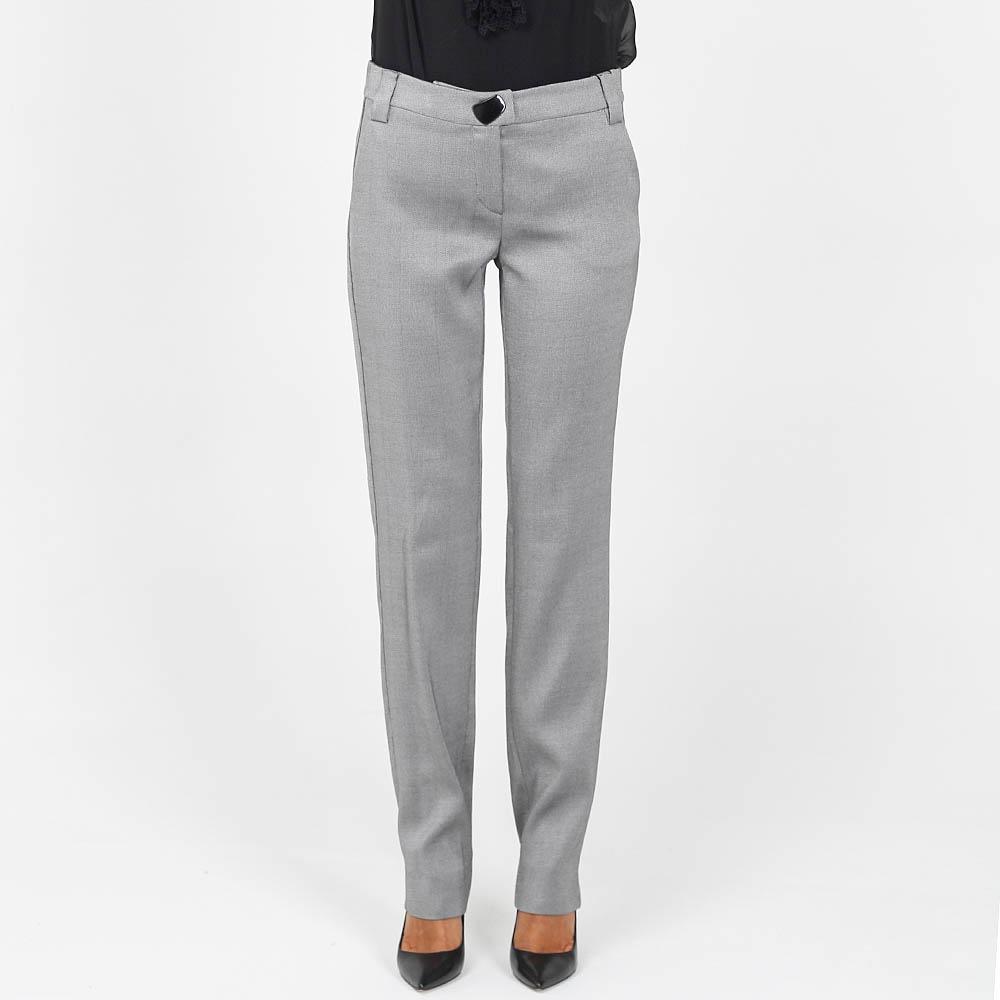Зауженные брюки Emporio Armani из шерсти серого цвета