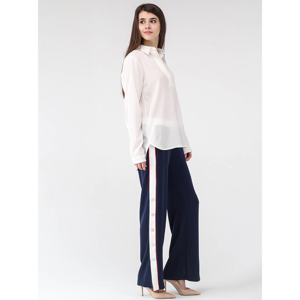 Широкие брюки Ermanno Ermanno Scervino синего цвета с лампасами на кнопках