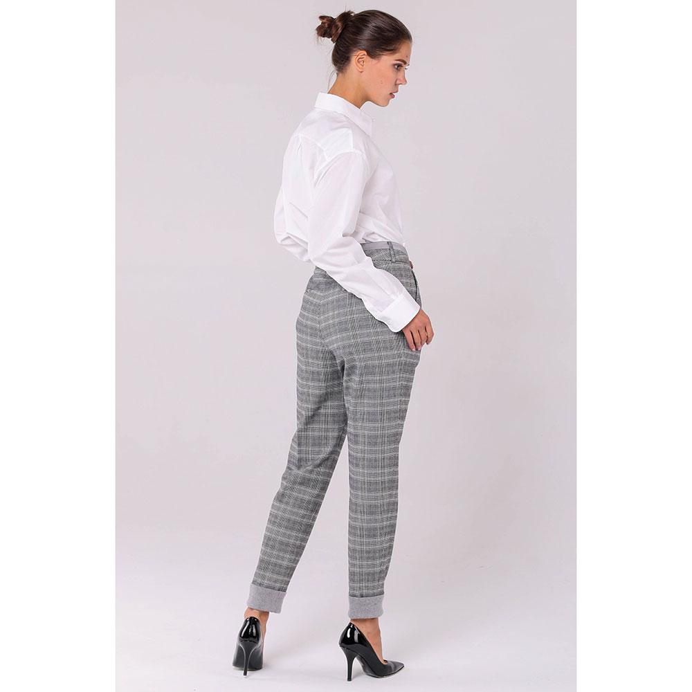 Серые клетчатые брюки Peserico с высокой талией