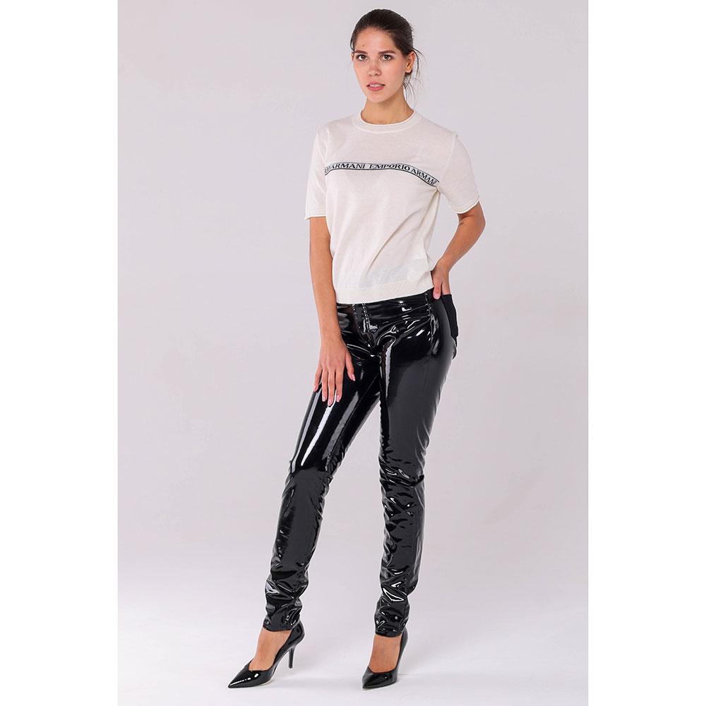 Лаковые брюки Philipp Plein черного цвета