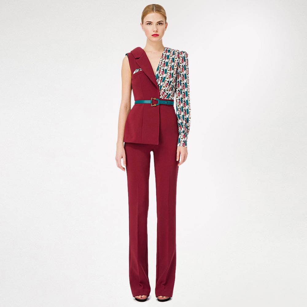 Асимметричный комбинезон Elisabetta Franchi бордового цвета