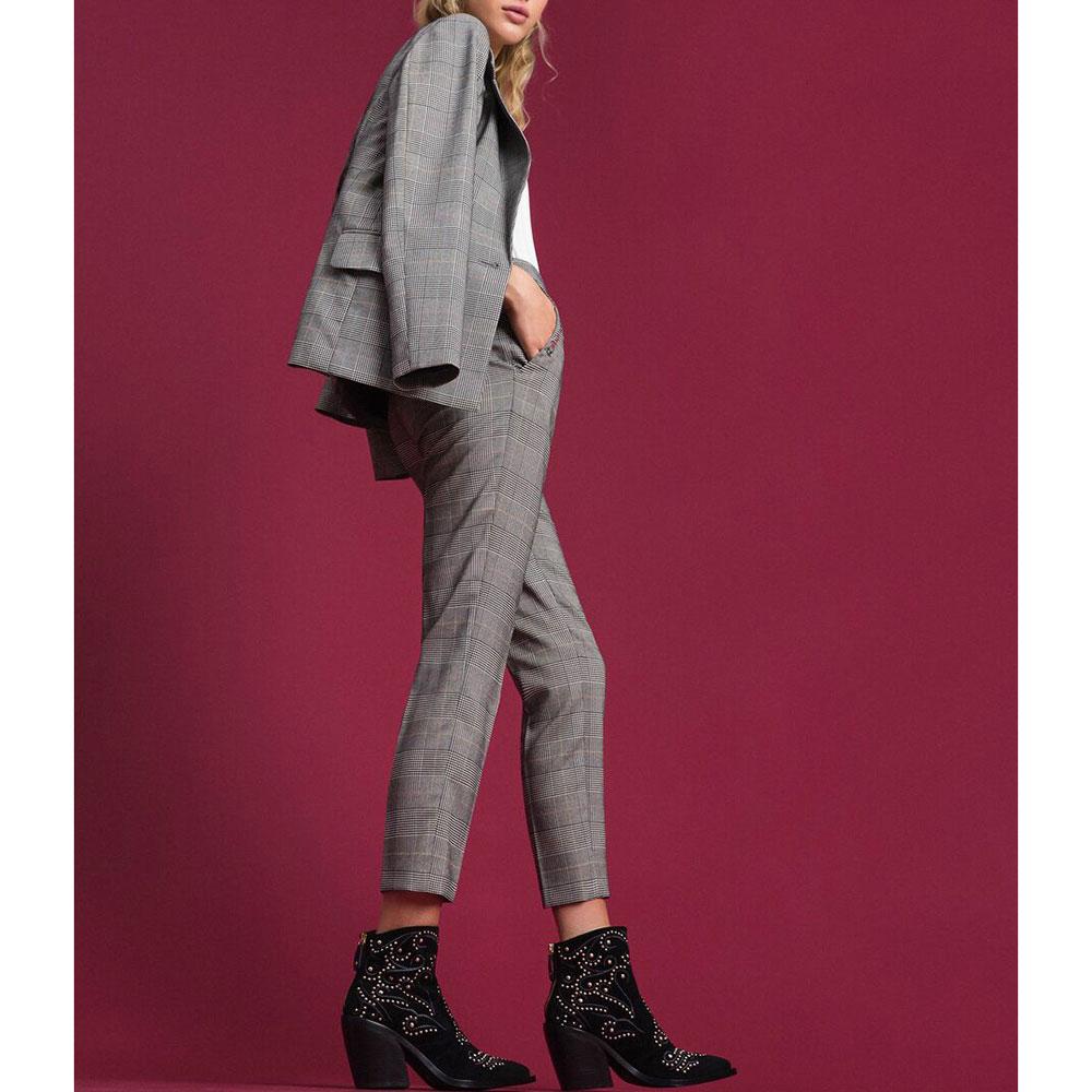 Клетчатые брюки Twin-Set с вышивкой