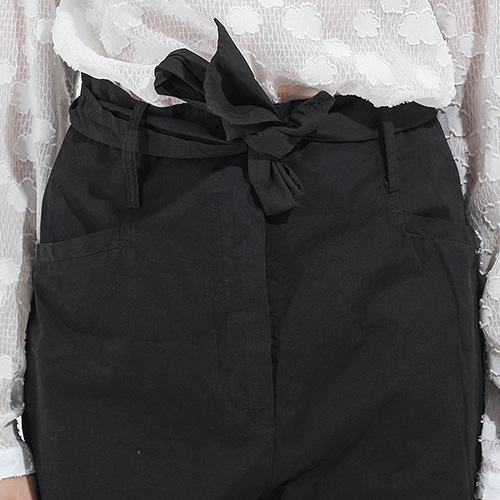 Широкие черные брюки Peacock Blue с высокой талией, фото