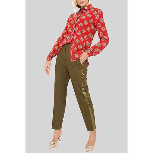 Зеленые брюки Etro с лампасами, фото