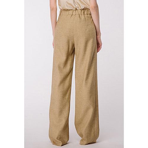Широкие льняные брюки Shako золотистого цвета, фото