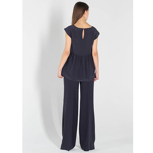 Шелковые брюки-клеш Polo Ralph Lauren синего цвета, фото