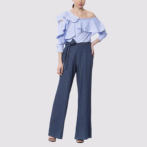 Широкие синие брюки Silvian Heach с поясом, фото