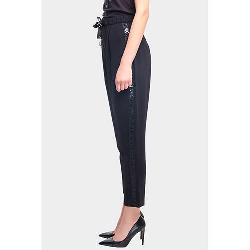 Черные брюки Elisabetta Franchi Moves с лампасами-лого, фото