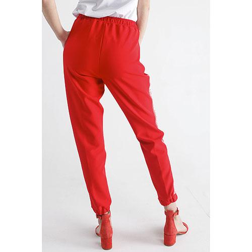 Красные зауженные брюки Ermanno Scervino с лампасами, фото