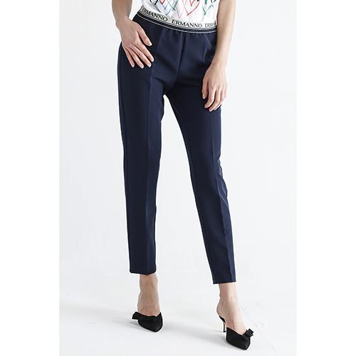 Синие зауженные брюки Ermanno Scervino со стрелками, фото