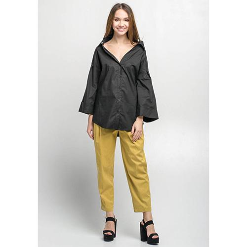 Укороченные брюки Kaos желтого цвета с защипами, фото