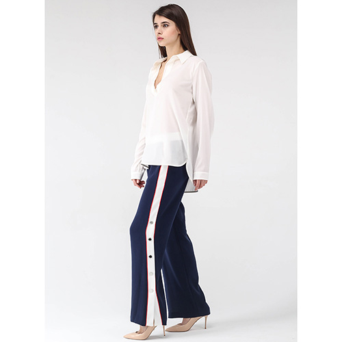Широкие брюки Ermanno Ermanno Scervino синего цвета с лампасами на кнопках, фото