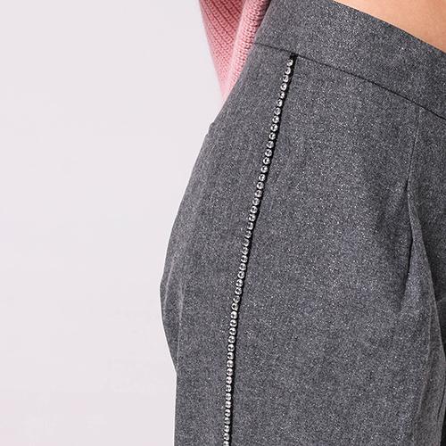 Серые брюки Ermanno Scervino со стразами, фото