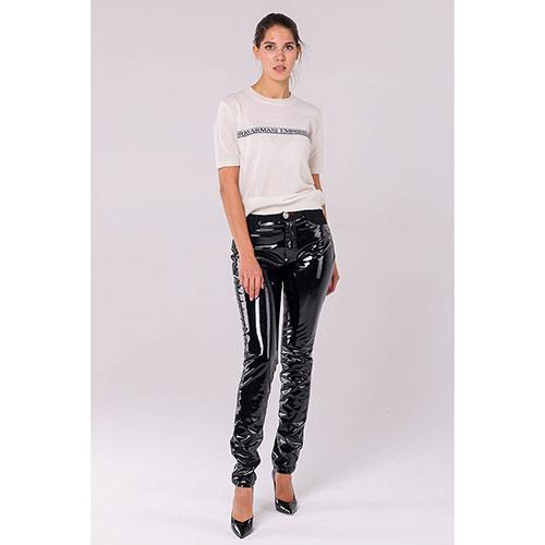 Лаковые брюки Philipp Plein черного цвета, фото
