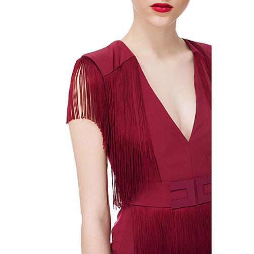 Бордовый комбинезон Elisabetta Franchi с бахромой, фото