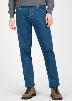 Синие джинсы Scissor Scriptor с вышивкой на заднем кармане, фото
