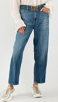 Укороченные джинсы Pinko синего цвета, фото