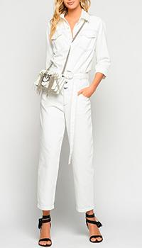 Джинсовый комбинезон Pinko белого цвета, фото