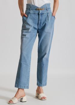 Голубые джинсы Pinko с декором на поясе, фото