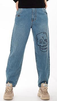 Голубые джинсы J.B4 Just Before с черепом, фото