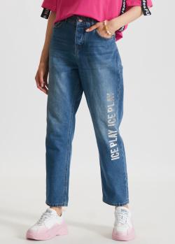 Синие джинсы Iceberg Ice Play с брендовым принтом, фото