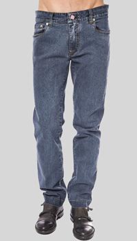 Синие джинсы Billionaire с вышивкой на кармане, фото