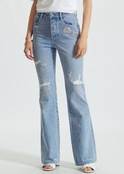 Голубые джинсы-клеш Miss Sixty с декором-вышивкой, фото