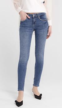 Синие джинсы Liu Jo со стразами на карманах, фото