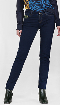 Синие джинсы Cavalli Class с зелеными вставками, фото