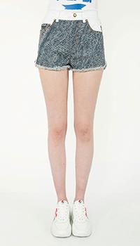 Джинсовые шорты Versace Jeans Couture с бахромой, фото
