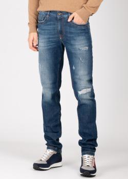 Синие джинсы Bikkembergs с потертостями, фото