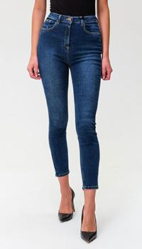 Синие джинсы Elisabetta Franchi с логотипом на заднем кармане, фото