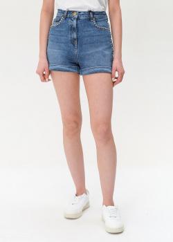 Джинсовые шорты Elisabetta Franchi с декором-стразами, фото
