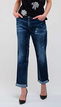 Темно-синие джинсы Emporio Armani с потертостями, фото