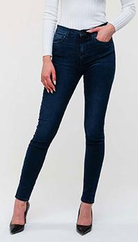 Синие джинсы Emporio Armani с металлическим лого, фото