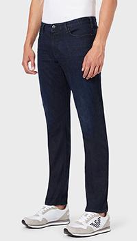 Зауженные джинсы Emporio Armani темно-синего цвета, фото