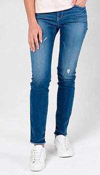 Джинсы Emporio Armani синего цвета с потертостями, фото