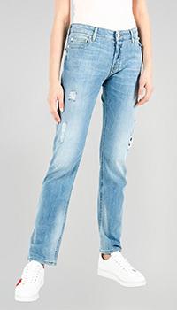 Голубые джинсы Emporio Armani с потертостями, фото